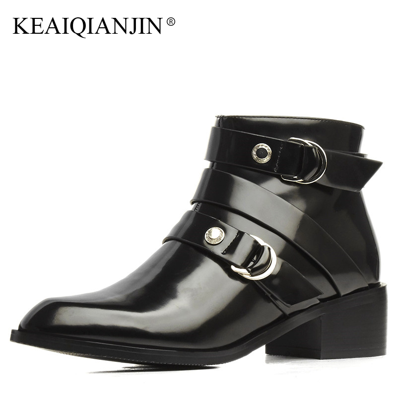 KEAIQIANJIN Woman Pointed Toe Boots Autumn Winter Plus Size 33 - 43 High Heel Shoes Black Genuine Leather High Hee Ankle Boots цены онлайн