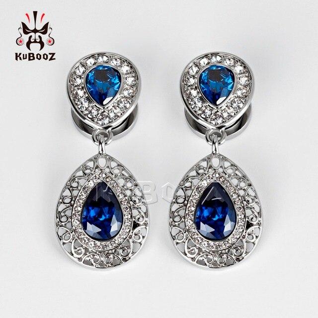 Купить серьги подвески kubooz из нержавеющей стали с синими кристаллами