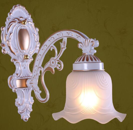 ФОТО Alloy European single aisle wall lights white American retro wall lamp Nordic Mediterranean bedroom bedside lamp