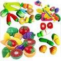 Buena calidad de los niños de educación alimentaria cortar frutas verduras de plástico rebanada cocina cocina kids toys set