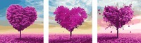 3 Piece Large Frameless Picture DIY Painting By Numbers On Canvas Purple Love Trees Home Decor