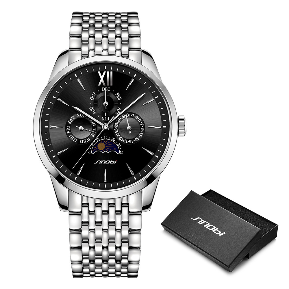 f5facabb0b4 SINOBI luxury Men Business Watch Full Stainless Steel Quartz Men s  Wristwatch High-End Swiss Craft