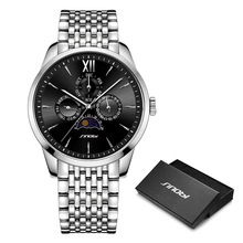 SINOBI luxury Men Business Watch Full Stainless Steel Quartz Men's Wristwatch High-End Swiss Craft Watches Relogio Masculino sinobi full stainless steel business men watches chronograph quartz watch color rotatable bezel white number relogio masculino
