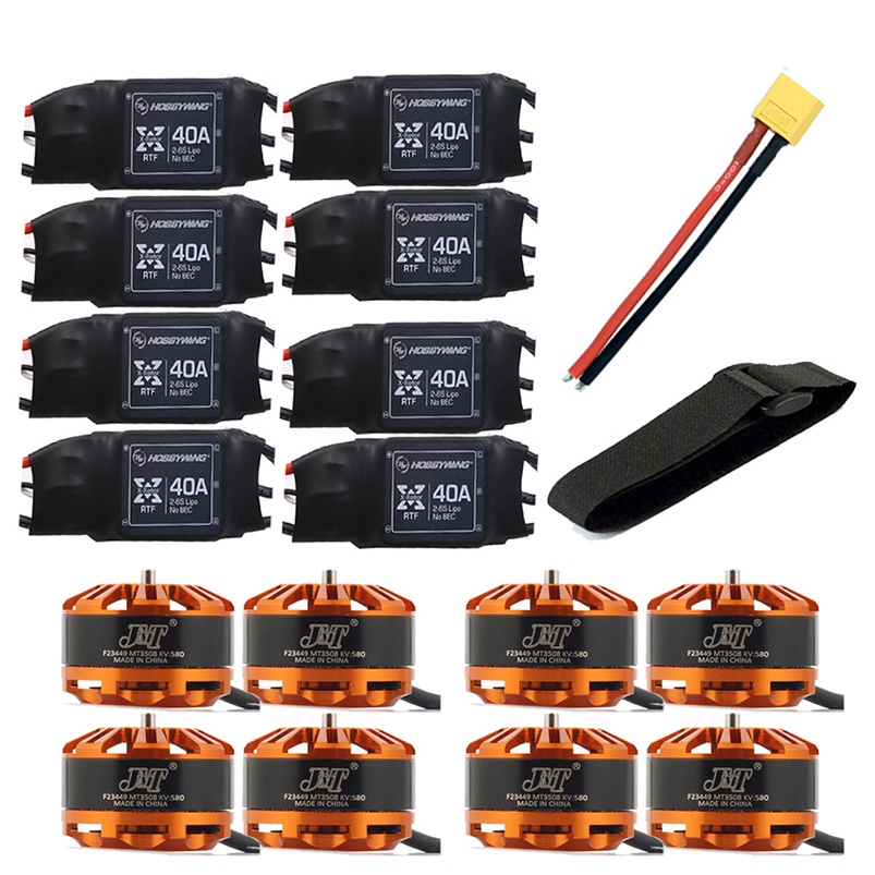 DIY 8-axis Airplane Helicopter Motor Combo 8pcs 3508 580kv Motor + 8pcs Hobbywing XRotor 40A ESC + XT60 Connector+Fastening Tape new lang yu x4110s 340 400kv 460 680kv 580kv high efficiency multi axis disc motor