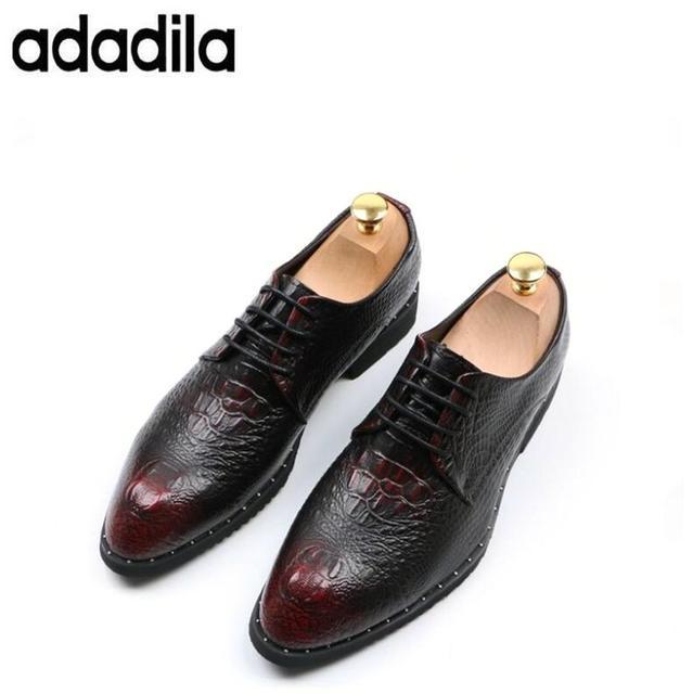 bf7b9ad16b119 Primavera Outono Homens De couro de Crocodilo Pele de Crocodilo Sapatos  Zapatos Hombre Vestir Oxfords