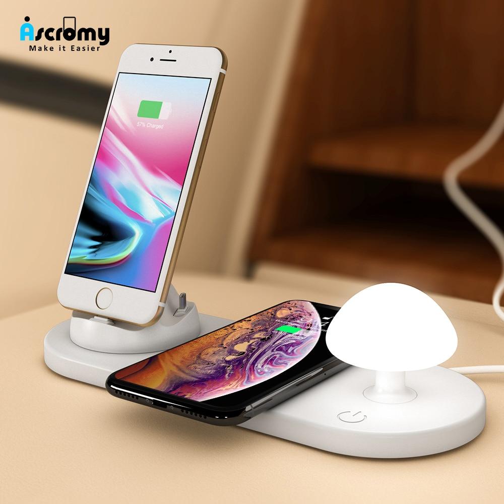 Ascromy 3 En 1 Cargador Inalámbrico Rápido Pad Lámpara De Noche Para Iphone Samsung Android Micro Tipo C Seta Luz Qi De Carga Inalámbrica Eliminando ObstruccióN