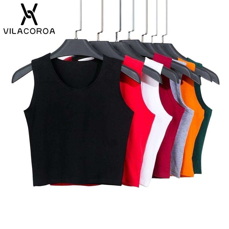 Czarny okrągły dekolt bez rękawów Harajuku damski T-shirt bawełniany crop top koszula damska dziewczyny Lady Tee topy Streetwear Camiseta Mujer 1