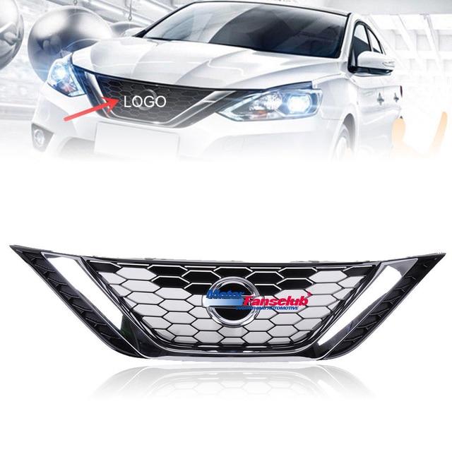 1pcs Car Racing Grille For Nissan Sentra 2016 2017 Grill Emblems Radiator Chrome Mesh Horizontal Front Per Lower Trim Modify