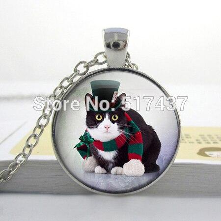 HZ1 Cat in a hat Christmas Cat XMAS Cat black cat Glass Pendants Necklace Animal Necklace Glass Dome Art Picture Photo Pendant