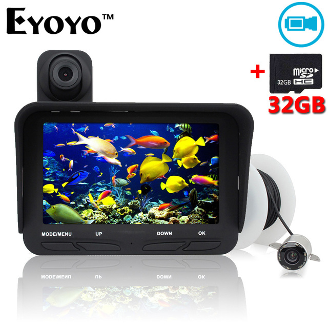 Free Shipping!Eyoyo 20M Fish Finder DVR Video Record 6 Infrared LED Underwater Fishing Camera+Overwater Camera+Free 32GB TF Card
