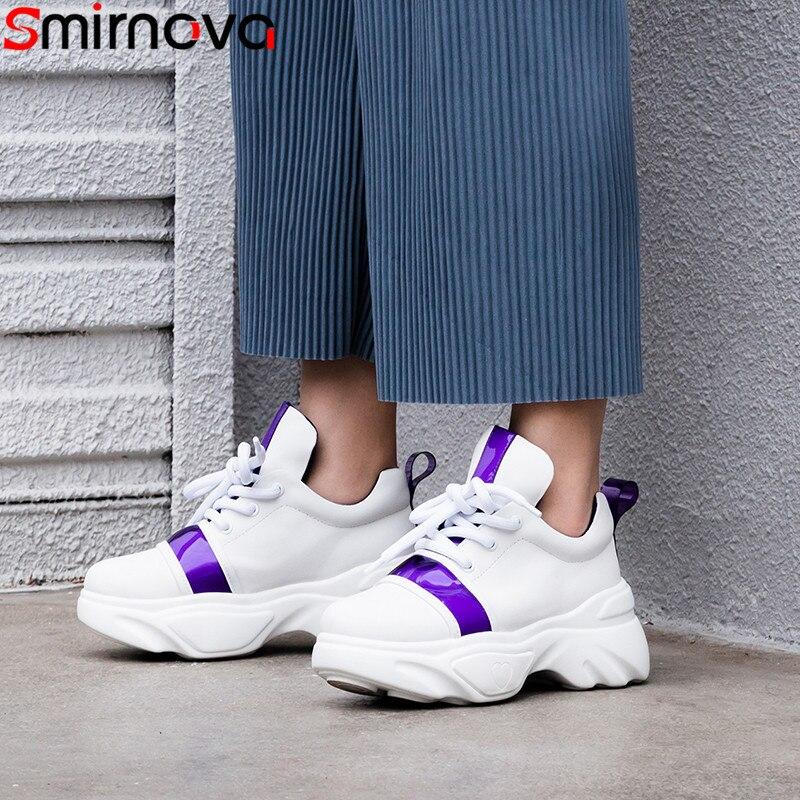 Smirnova 2019 nowe buty kobieta okrągłe toe zasznurować prawdziwej skóry buty trampki buty damskie wygodne mieszkania kobiety w Damskie buty typu flats od Buty na  Grupa 1