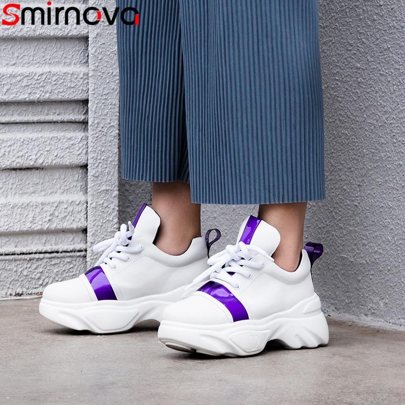 Smirnova 2019 nuevos zapatos mujer punta redonda encaje zapatos de cuero genuino zapatillas casuales zapatos mujeres cómodos planos-in Zapatos planos de mujer from zapatos    1