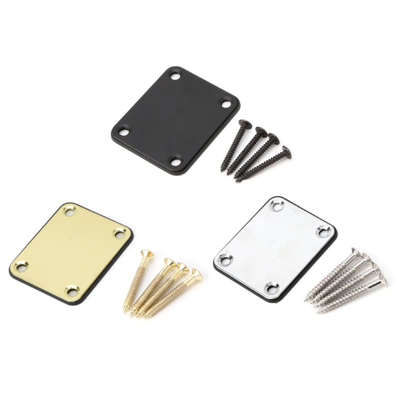 OOTDTY Electric Guitar Neck Plate Fix Tele Telecaster Joint Board 4 Screws  Accessories