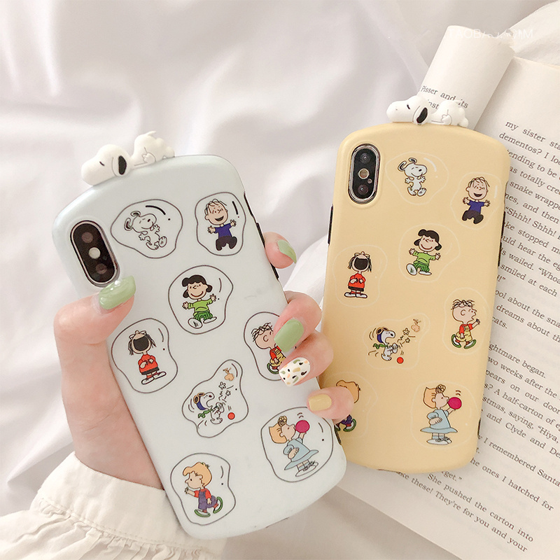 Cartoon fun character Charlie phone case for iphone8 8plus xr 8 6 s 7 plus x xs max stereoscopic sleeping dog silicon soft cover