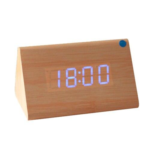 Practical e Wood Voice Control Alarm Digital LED Alarm Clock Thermometer