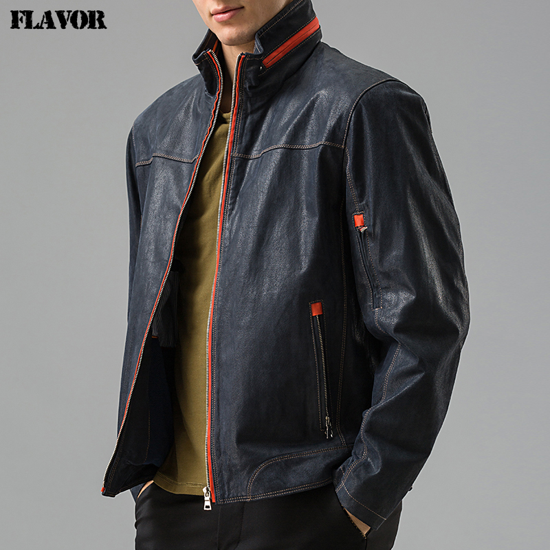 Men's real leather jacket Genuine Leather jacket Pigskin leather coat casual men winter overcoat