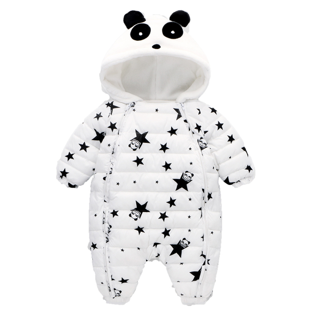 5dd0484c3 Warm Autumn Winter Baby Rompers Overalls Clothes Jumpsuit Panda ...