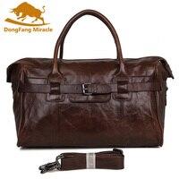 DongFang чудо сумка из натуральной кожи для путешествий Мужская большая сумка для переноски багажа мужская кожаная сумка Дафлкот Ночная сумка