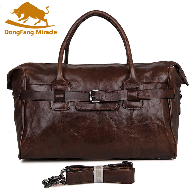 DongFang Miracle sac de voyage en cuir véritable hommes grand sac de bagage à main hommes sac de sport en cuir sac de week end de nuit grand fourre tout-in Voyage Sacs from Baggages et sacs    1