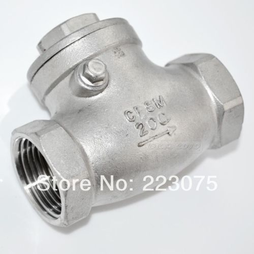 Free shipping New 2 Stainless Steel Swing Check Valve WOG 200 PSI PN16 SS316 CF8M SUS316 pneumatic stainless steel 3pc 1000 wog ball valve