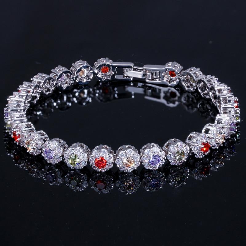 ade6971dce99 Pera nueva real de la moda pulsera de tenis para las mujeres de Color de  plata de Zirconia cúbica grande de piedra azul conectado parte de joyería  ...