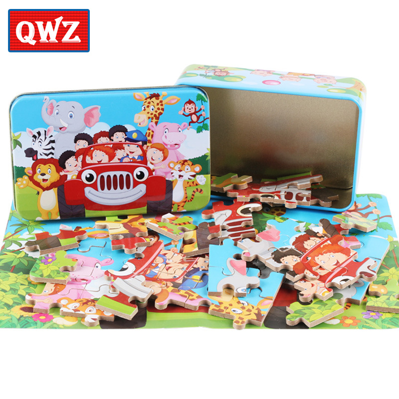 QWZ 60Pcs Cartoon Animal Puzzle Iron Box Kids Wooden Toys Jigsaw Puzzles Children Early Education Toy For Kids Christmas Gifts