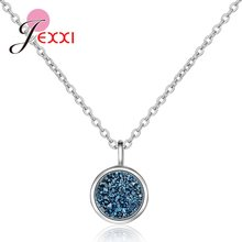 High Standard S925 Sterling Silver Crystal Pendant Necklaces Jewelry Small Blue CZ Stones Wedding Engagement Valentines Day Gift(China)