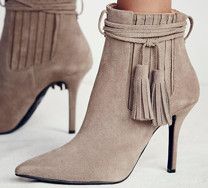 2017 New spring autumn tassel boots women thin high heels ankle leather shoes pointed toe fringe female boots