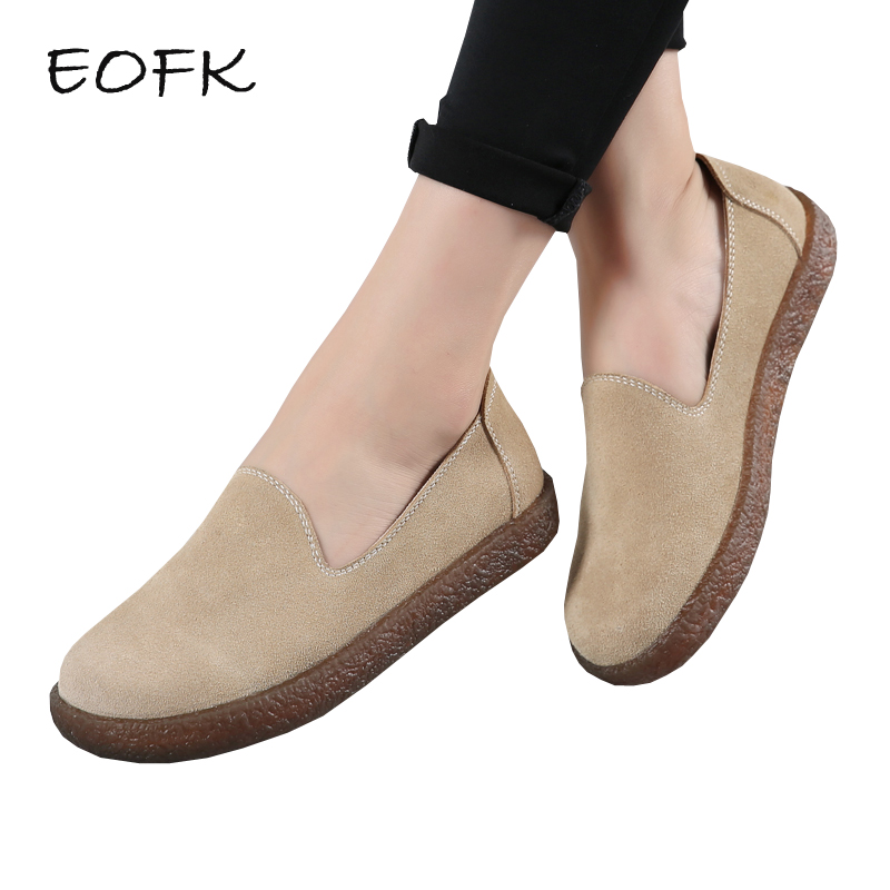 EOFK Women Suede Leather Flats Shoes Woman Casual Women's Moccasions 2018 New Soft Slip On Comfy Loafers Ladies Shoes F eofk women ballet flats women s flat shoes casual cow suede leather loafers shoes woman butter fly slip on solid ladies shoes