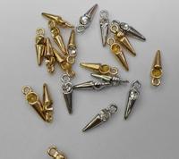 50pcs 20mm CZ Micro Pave Diamond Cubic Zirconia Pave Earrings Healing Column Sharp Spikes Charms Pendants