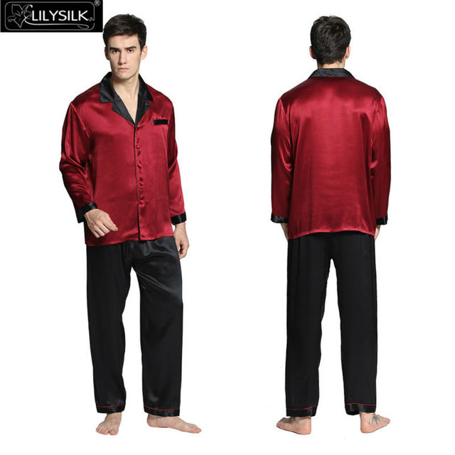 Lilysilk 22 Momme глубокий углового шелковые пижамы установленные для короткий рукав мужчин летняя одежда для мужчин в китайском стиле 2016 комплект шелк атлас Повседневная комбинезон мужской