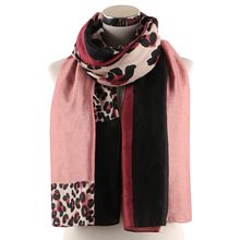 Winfox Fashion Patchwork Animale Scarves Shawls Women Pink Red Leopard Scarf Female Stoles