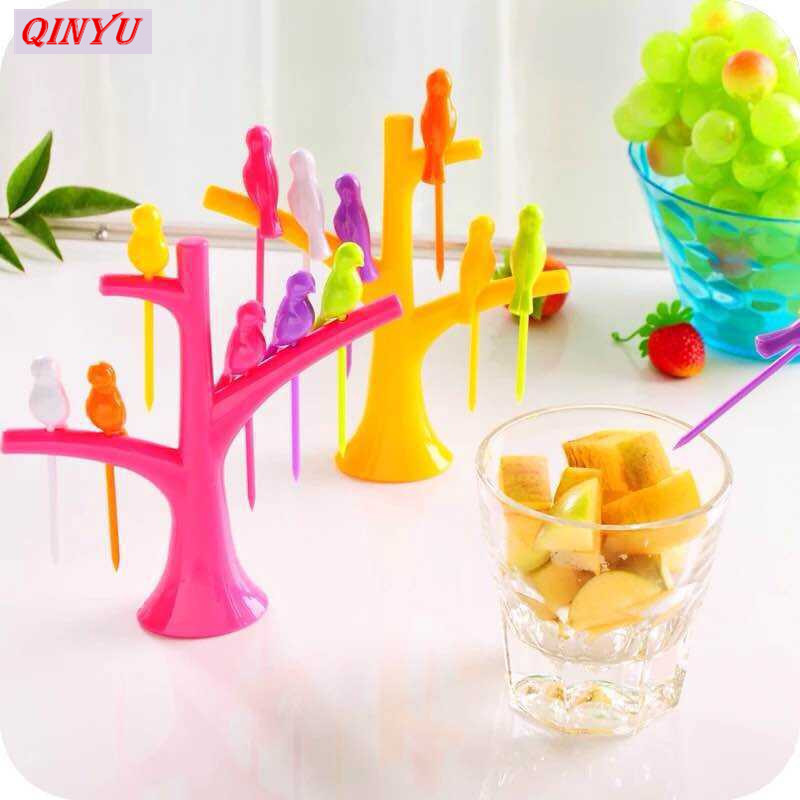 Nouveau Fruit Fork décoratif OISEAU ARBRE SET