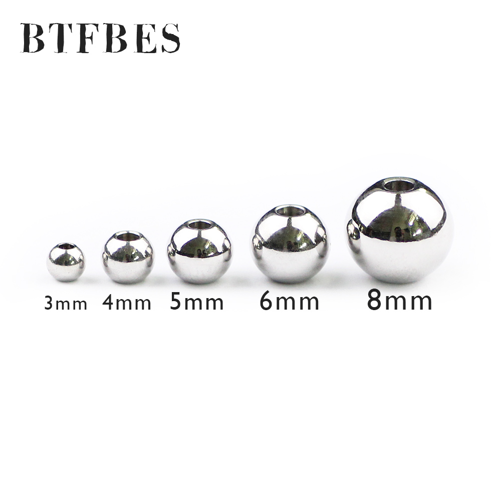 BTFBES 200pcs Stainless steel 3 4 5 6 8mm Spacer beads Round ball Metal Loose beads for jewelry bracelet making DIY Accessories in Beads from Jewelry Accessories