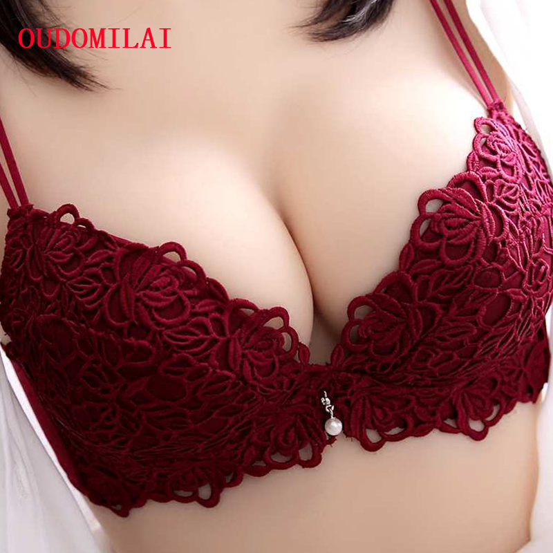 Sexy Bra Set Adjusted Push Up Bra set Panty Padded 3/4 Cup Underwire Embroidery Underwear For Women Lingerie Set bralette briefs