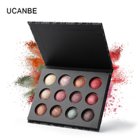 UCANBE Brand Pro High Quality 12 Colors Baked Metallic Eye Shadow Makeup Palette Glitter Smoky Nude
