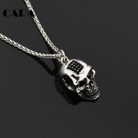 CARA NEW Gothetic Rhinestones Human Head Skull Necklace Charm 316L Stainless Steel Top Quality Long Chain