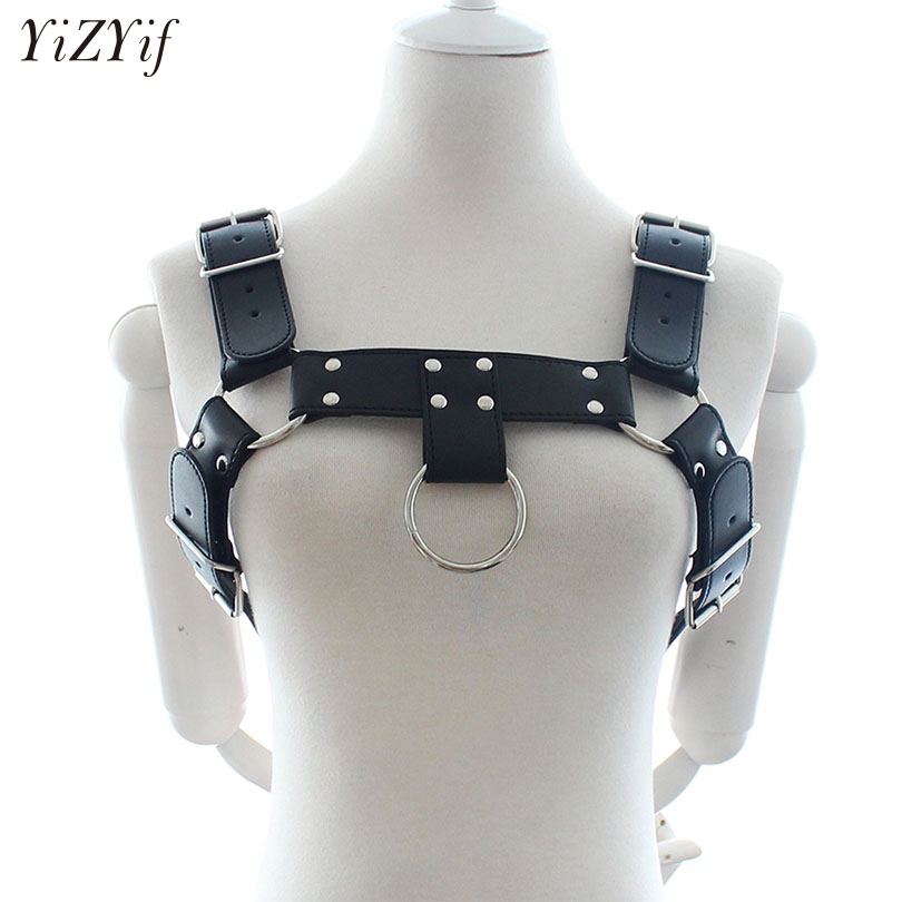 YiZYif Unisex Sexy Body Chest Harness Men Fetish Adjustable Bondage Costume Gay PU Leather Belts Chest Strap Sexy Erotic Linger