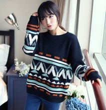 Fashion Style Womens Casual Sweater Vintage Geometric Knitted Womens Pullovers Loose Batwing Knitwear Jumper Pull De Femme