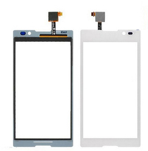 10pcs/lot New Replacment For Sony Xperia C S39H C2304 C2305 Glass LCD Touch Screen with Digitizer black white Free shipping