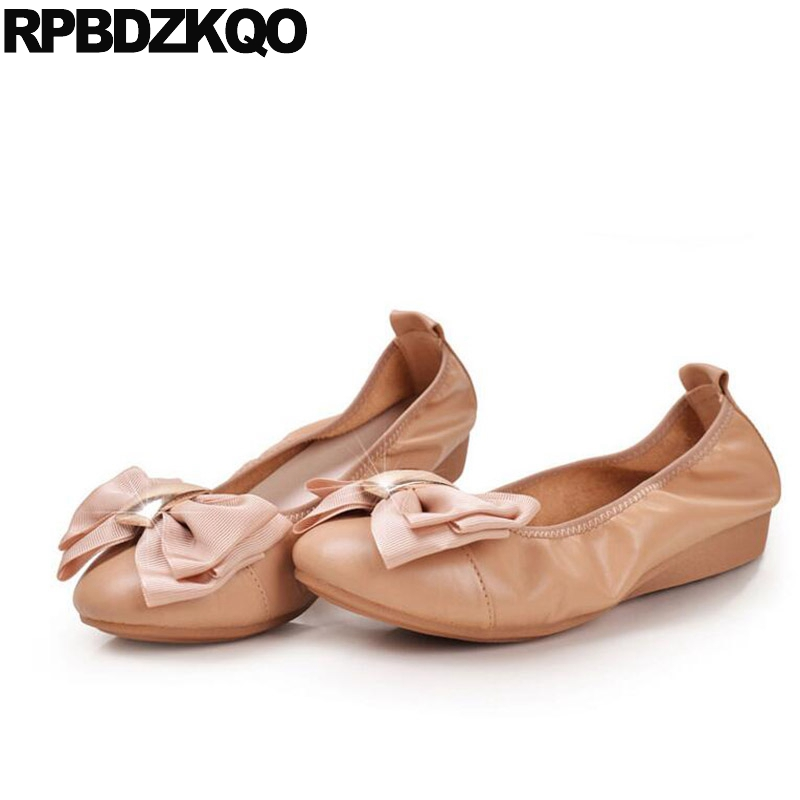 Flats Nude Roll Up 10 Shoes Cute Big Size 11 Bow Foldable Ballet Chinese 43  Metal Ballerina Women 2018 China Large Kawaii a6370f4a429d