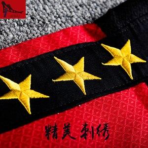 Image 4 - Doboks 5 étoiles, vêtements dentraîneur Taekwondo adultes, vêtements à manches longues, design noir et rouge, uniformes taekwondo adultes