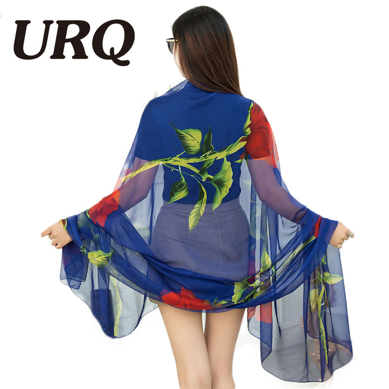 Long Silk Scarf For Women Big Size Sarong Beach Wear Pareo Scarf Beach Cover Up Scarves Print Floral For Lady Soft 5105 sweet printed self tie beach cover up for women sarong