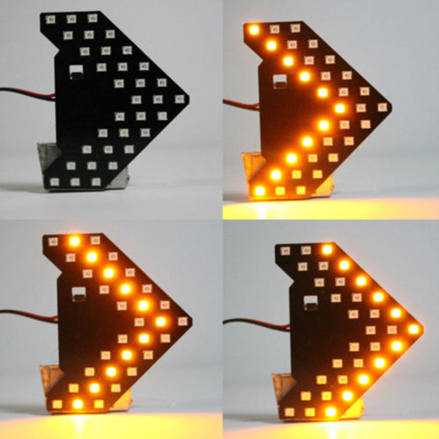 Yellow 33SMD Sequential LED Arrows For Car Auto Side Mirror Turn Signal Lights