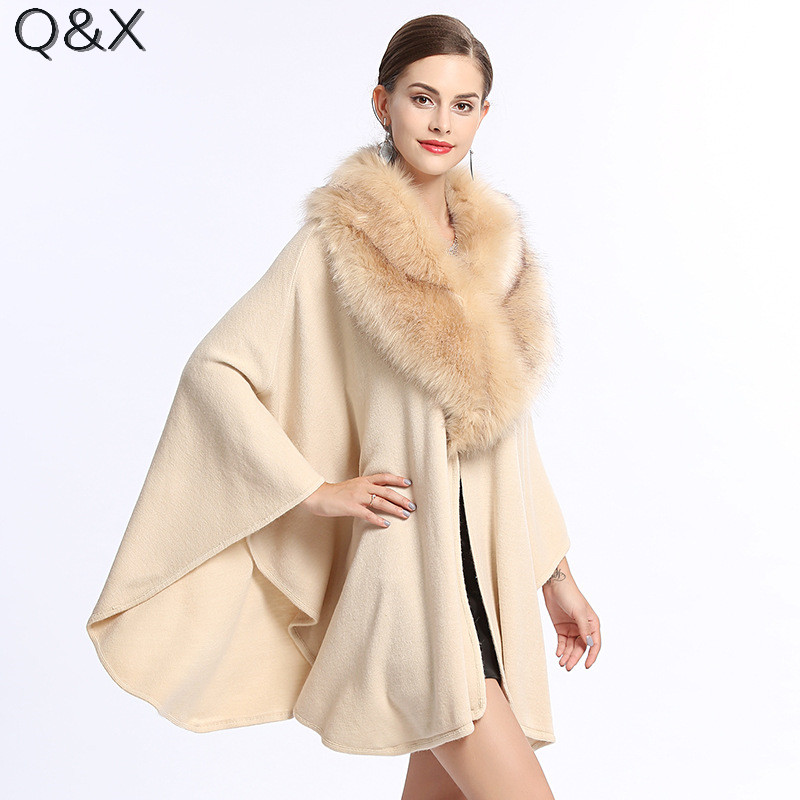 SC117 2017 Fashion Solid Color Pashmina Knitted Shawl Women Big Faux Fox Trim Collar Fake Cashmere Loose Poncho Cape Sweater