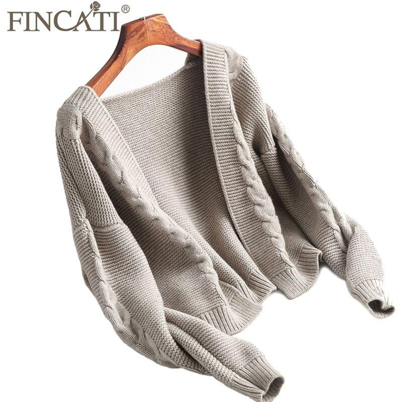 Cardigan Women 2018 Autumn Winter Cashmere Blending Twist Knitted Open Stitch V Neck Casual Elegent Short Outwear Coat Sweater
