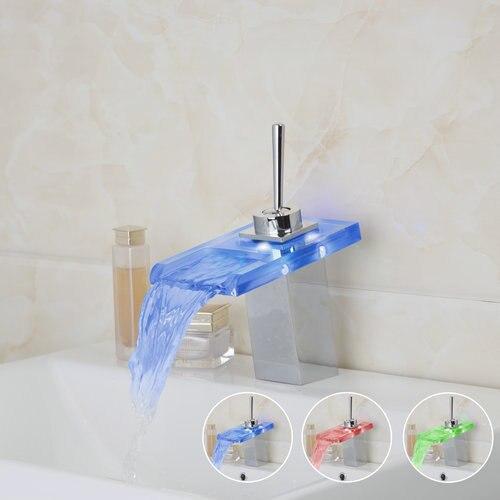 Frissons batterie puissance lumière LED cascade salle de bains verre Chrome laiton 8003/12 pont monté évier bassin Torneira robinet, mitigeur