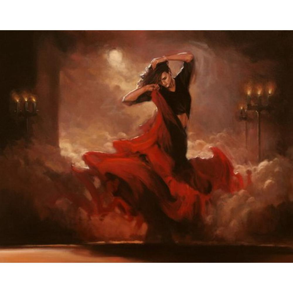 Us 104 28 21 Off Hand Painted Oil Paintings Canvas Art Flamenco Dancer Night Buring Figure Art Woman For Home Decoration In Painting Calligraphy