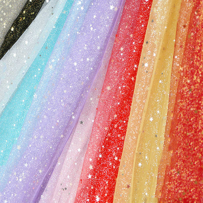 Detail Feedback Questions about Width 150cm 1M Glitter Fabric Gradient Tulle  Stage Wedding Party Tutu Skirt Sequin Star Decoration Mesh DIY Handmake  Fabric ... d182ac17f96a