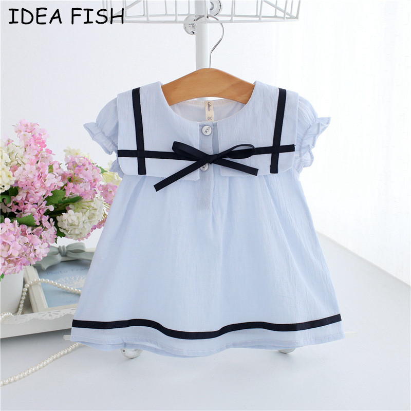 IDEA FISH 2018 Summer Baby Dress Cotton Bow Infant Girl Dresses Puff Sleeve Toddler Baby Girl Clothes blue white 0-2T